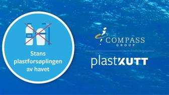 Med prosjektet PlastKutt og WWFs #Plaststafett vil Compass Group være med å redusere plastforurensning. (Grafikk Eurest AS/Compass Group)
