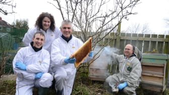 From l-r: Matthew Pound, Helen Hooper and Rinke Vinkenoog of Northumbria University, with urban beekeeper Ian Campbell