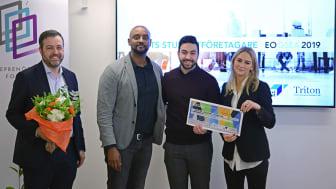 Årets Studentföretagare 2019 är Hamza Qadoumi, Ecobloom. Priset delas ut av Entreprenörskapsforum (vd Johan Eklund), Tillväxtverket (projektledare Filmon Thumizghi) och Triton Advisers (Karin Möllborg) Foto: Entreprenörskapsforum