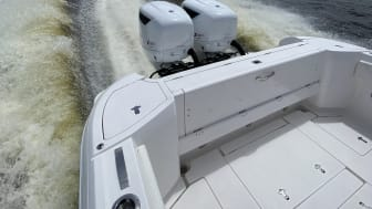 The CXO300 diesel outboard is now installed and running on the first boat located in North America.