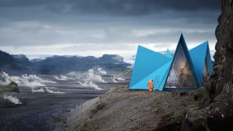 Stålplåten i fasaderna på vandringsstugan är målad i en blå kulör - Skýli Blue - speciellt framtagen för projektet med en färg baserad på svensk rapsolja. Bild: Utopia Arkitekter