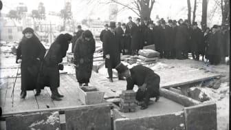 Grundstensläggningen vid Sjöfartsmuseet Akvariet, 4 feb 1931
