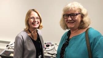 Karin Grönvall, riksbibliotekarie, och Eva-Lis Green, avdelningschef för KB:s digitala samlingar.