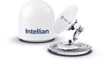 Intellian's innovative, future-proof v85NX antenna, with the new logo