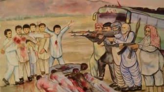 """Av Re Za. """"Det bild handlar om 2009 eller 10 när 27 Hazara ungdomar ville resa till Iran för att jobba från Quetta Pakistan och Talibanerna stopoade bussen kollade identitet Alla som var Hazara hämtade av bussen och mördade i mitten av gatan."""""""