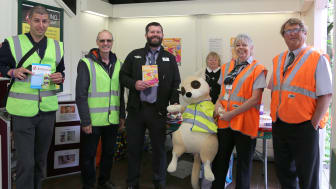 Southern Station Manager Andy Gardner and station staff Michael Litchfield and Su Rogers host Piers the Meerkat, joined by volunteers from the charity Embrace