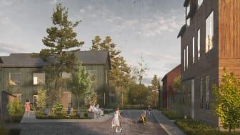 I morgon på byggnadsnämnden väntas bland annat beslut om granskning för detaljplanen för Fredriksdal. Planen visar hur Gäddeholm kan växa med nya bostäder och verksamheter i olika former. Illustration: Archus/AL studio.