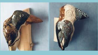 Två av Gunilla Dovstens flyttfåglar på väg till 78 Derngate i England.