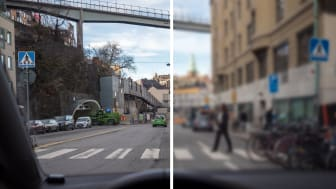 Foto: PMAGI AB/Petter. Höger sida visar en uppskattning av hur var sjätte bilist ser. De har en skärpa som är visus 0,5 eller sämre vilket innebär att de börjar se oskarpt på ca 1-2 meters avstånd.