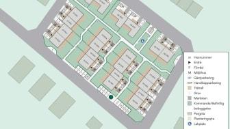 Kvartersskiss som visar hur bostäderna placeras i förhållande till gator och grönområden.
