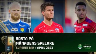 Superettan Månadens spelare April 2021