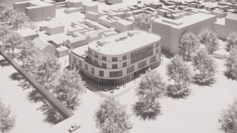 Nytt kultur- och bildningscentrum i Gävle, vy mot entréfasaden vid Slottstorget. Illustration: Nyréns Arkitektkontor
