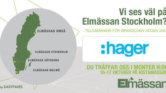 Hager på Elmässan i Stockholm 16-17 oktober