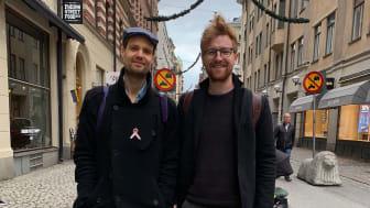 På bilden delar av teamet bakom Boxed Fruits, från vänster: Emil Wasteson, Filip Bengtsson