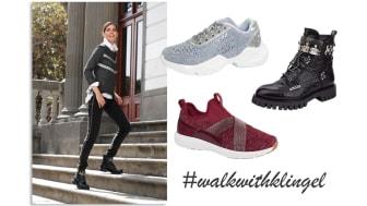 Bekanta dig med Klingels nya kampaj #walkwithklingel och våra stilfulla skonyheter i den kommande höstkollektionen.