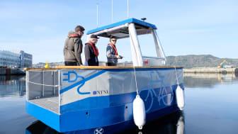 Det selvkjørende fartøyet milliAmpére testes nå ut i Trondheim sentrum ved hjelp av 5G. Foto: Kai Dragland, NTNU