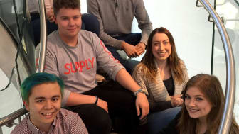 : Six of the seven successful EBM Students: Front L-R - John Nichols and Lydia Willis. Mid row L-R -  Alex Colby and Samantha Bright. Back L-R - Georgie Smith and Sam McDermid.