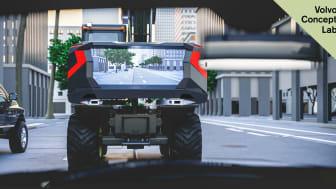 När EX03 körs på en allmän väg visas en videoström i realtid som gör att fordon bakom kan se tydligt framåt