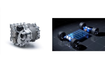 (LEFT) 350 kW class electric motor prototype, (RIGHT) Unit installation image (350kW class unit x 4)