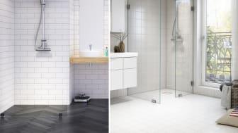 Se golvbrunnen som en nästan osynlig del i badrummet och lägg samma klinker i brunnen som på övriga badrumsgolvet
