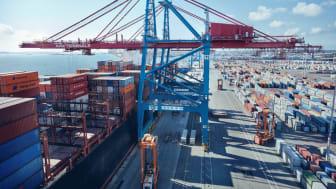 Med fortsatta direktanlöp och ökade containervolymer på APM Terminals, har Göteborgs hamn, till skillnad från många Europeiska hamnar, stått stabila under Coronapandemin. Bild: Göteborgs Hamn AB.