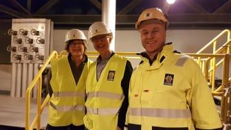 Styreleder i TAFJORD Anne Breiby, varaordfører i Ålesund kommune Tore Johan Øvstebø og konsernsjef i TAFJORD, Erik Espeset.