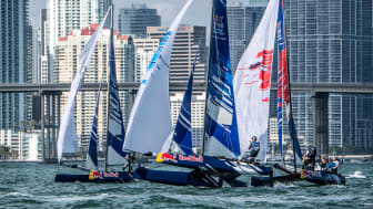 Competitors battle it out on the waves at the finals of the Red Bull Foiling Generation, supported by Yanmar