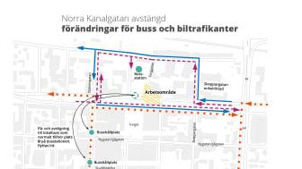 Kanalgatans norra körfält stängs av vid busstorget 3-21 april
