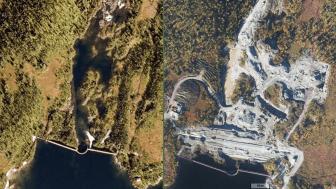 Bildet til venstre er tatt i 2008 og viser terrenget nedstrøms den gamle platedammen. Bildet til høyre er tatt i 2016  etter at anleggsarbeidet har kommet godt i gang (Foto: ©norgeibilder.no).