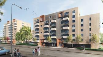 Bygglov klart för Riksbyggens planerade bostads- och hyresrätter vid Regementsvägen i Helsingborg