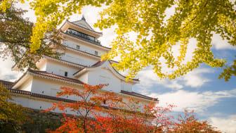 Tsurugajo Castle in autumn