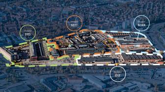Detaljplaneområden i Kopparlunden. Det är detaljplan Syd, Mitt och Norr som nu har antagits. Detaljplan Öst påbörjas i ett senare skede. E18 syns till höger i bild. Grafik Västerås stad