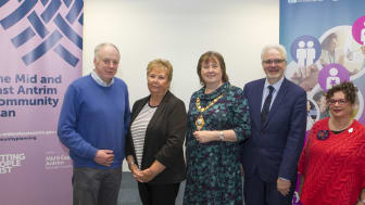 Mayor Cllr Maureen Morrow along with speakers, Dr Brian Hunter, Marjorie Hawkins, Chair of Mid & East Antrim Loneliness Network, Master of Ceremonies Hugh Nelson NHSCT and Cllr Geraldine Mulvenna (Dementia Choir).