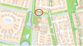 Röd cirkel markerar platsen där träden ska planteras