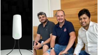 Västsvenska Faabcharge vill lyfta ut laddsystemet ur elfordonet och erbjuda en extern laddare. Team Faabcharge fr.v. Konstantinos Effraimidis, Björn Isaksson och Avishek Mohanthy.