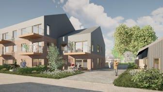 Visionsbild av bostäder för äldre i Dingtuna. Illustration: Erik Giudice Architects