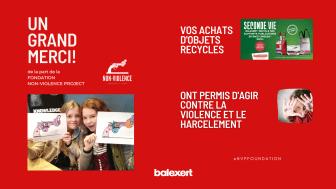 La Fondation Non-Violence Project remercie Balexert et ses clients pour leur engagement contre le harcèlement à travers l'opération SECONDE VIE