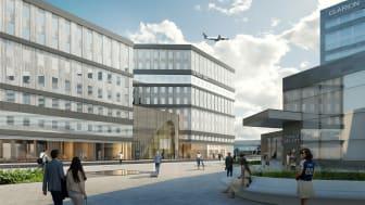 Office One på Stockholm Arlanda Airport. Visionsbild: Sandellsandberg arkitekter.