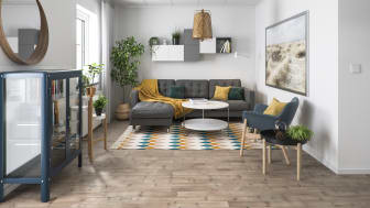 Illustration av interiör, vardagsrum, BoKlok småhus, 2020.