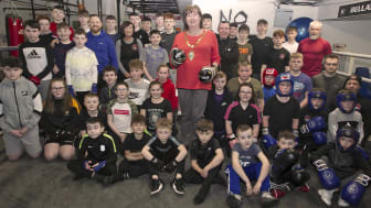 Mayor of Mid and East Antrim Borough Council, Cllr Maureen Morrow, with members and coaches of Braid Boxing Club in Ballymena