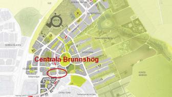 Markanvisningstävlingen för centrala Brunnshög avgjord. De fem aktuella byggrätterna ligger i det rödmarkerade området på bilden.