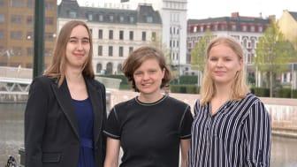 Sysavstipendiaterna Lina Grip, Lisa Pedersen och Amanda Möller.