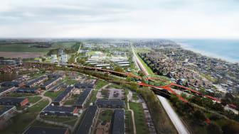 Vision för Business center Trelleborg av BSK Arkitekter och Nord Architects.