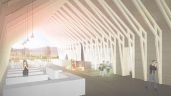 Konsthall Tornedalen skiss, entrehall.Arkitekt OOPEAA, Anssi Lassila