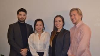På bilden är teamet bakom Ventus Robur, från vänster: Maximilian Schultz, Sophy Jonasson, Alexandra Esguerra &  Karl Lindell