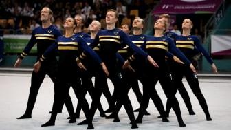 Mixedlaget i fristående under EM-kvalet i truppgymnastik. Foto: Fredric Berggren
