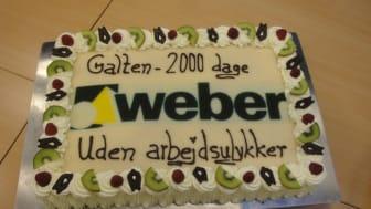 2000 dage uden arbejdsulykker på Saint-Gobain Webers fabrik i Galten