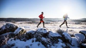 Löpare på drumlinen, Sandsjöbacka Trail Winter 2016