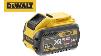 DEWALT lanserer nok en banebrytende nyhet – et effektivt 54V-batteri med en kjøretid på hele 12 Ah som er kompatibel med hele FLEXVOLT-sortimentet.
