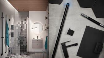 De svarta detaljerna är 2018 en stark trend i allt från val av duschvägg och blandare till de innovativa förvaringsskåpen i duschutrymmet, som hjälper dig att hålla ordning i såväl det lilla som det stora badrummet.